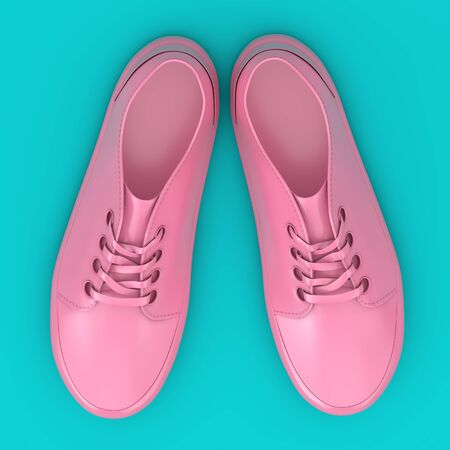 New Unbranded Pink Sneakers Mockup Duotone on a blue background. 3d Rendering