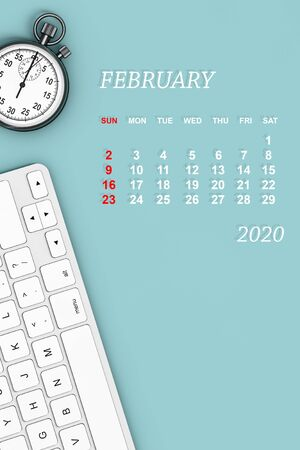 2020 year calendar. February calendar with Stopwatch and Keyboard. 3d Rendering