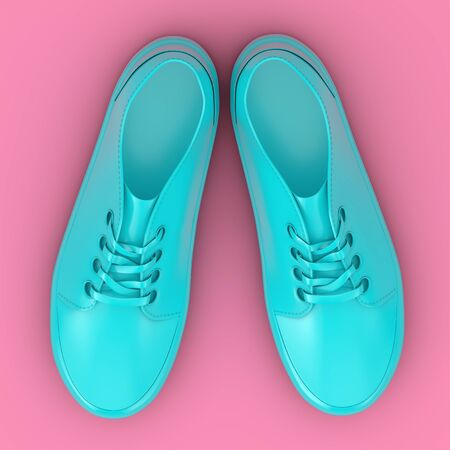 New Unbranded Blue Sneakers Mockup Duotone on a pink background. 3d Rendering