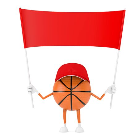 Cute Cartoon Toy Basketball Ball Sports Mascot Person Character with Empty Red Blank Banner with Free Space for Your Design on a white background. 3d Rendering Stock Photo