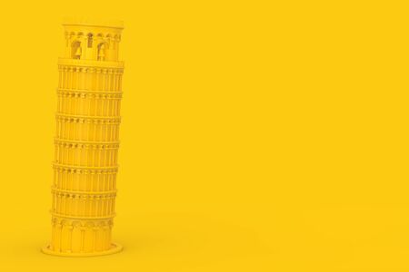 Yellow Leaning Pisa Tower on a yellow background. 3d Rendering