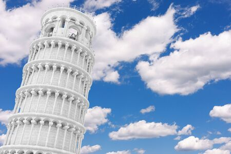 Leaning Pisa Tower on a blue sky background. 3d Rendering