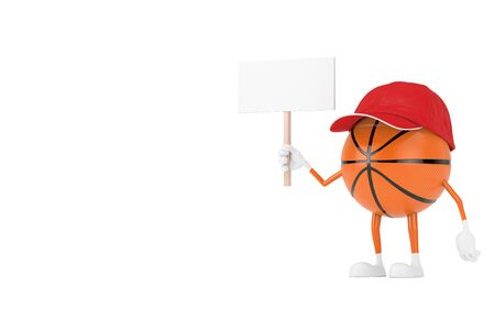 Cute Cartoon Toy Basketball Ball Sports Mascot Person Character with Empty White Blank Banner with Free Space for Your Design on a white background. 3d Rendering