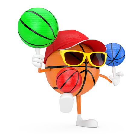 Cute Cartoon Toy Basketball Ball Sports Mascot Person Character Spining Colourful Basketball Balls on a white background. 3d Rendering Stock Photo