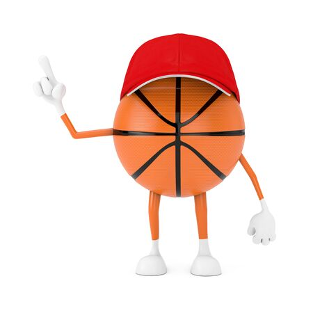 Cute Cartoon Toy Basketball Ball Sports Mascot Person Character on a white background. 3d Rendering Stock Photo