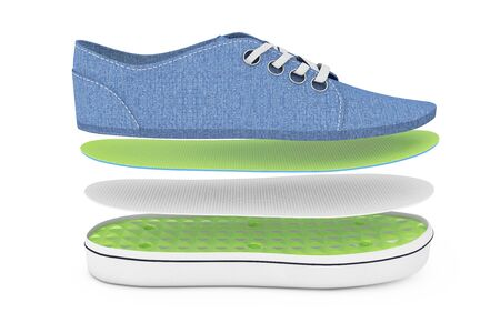 New Unbranded Blue Denim Sneakers by Layers on a white background. 3d Rendering
