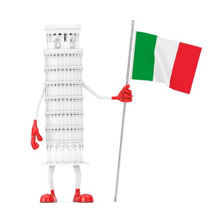 White Cartoon Leaning Pisa Tower Person with Italy Flag on a white background. 3d Rendering