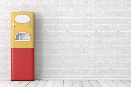 Vintage Sparkling Carbonated Soda Water Dispenser Outdoor Machine in front of brick wall. 3d Rendering