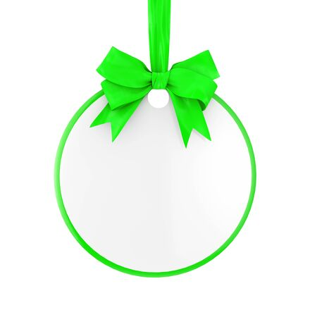 Blank Circle Sale Tag with Green Ribbon and Bow on a white background. 3d Rendering