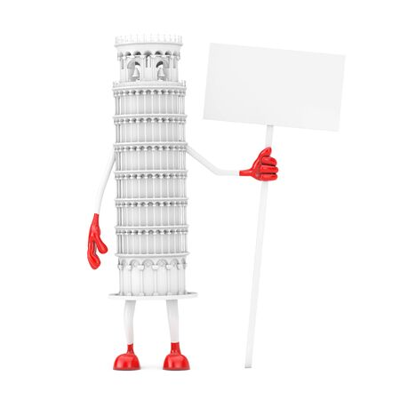 White Cartoon Leaning Pisa Tower Person with Empty White Blank Banner with Free Space for Your Design on a white background. 3d Rendering