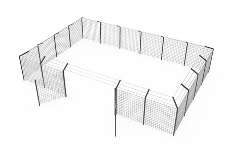 Prison Jail Fence as Security Perimeter on a white background. 3d Rendering Stock Photo