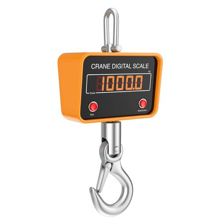 Industrial Digital Crane Scale with Hooks on a white background. 3d Rendering
