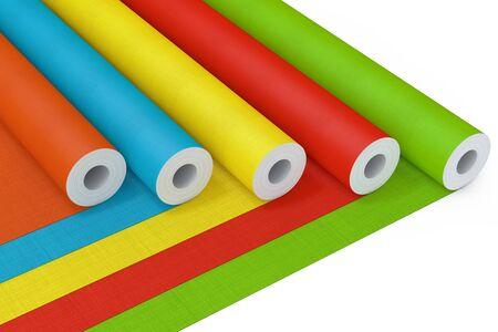 Fila di carta da parati multicolore Paperhanging rotoli su sfondo bianco. Rendering 3D Archivio Fotografico
