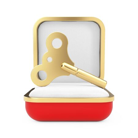 Golden Windup Key in the Red Gift Box on a white background. 3d Rendering Stock Photo