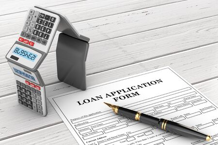 Loan Application Form with Mortgage Calculators in the Shape of a House and Pen on a wooden table. 3d Rendering Stock Photo