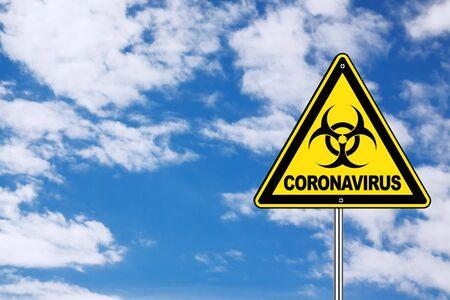 2019-nCoV Coronavirus Danger Area Yellow Biohazard Road Sign on a blue sky background. 3d Rendering Zdjęcie Seryjne