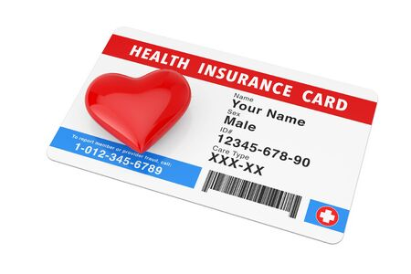 Red Heart with Health Insurance Medical Card Concept on a white background. 3d Rendering Reklamní fotografie