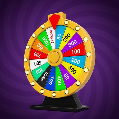 Luck and Fortune Concept. Spinning Colorful Fortune Wheel on a lavender background. 3d Rendering Archivio Fotografico