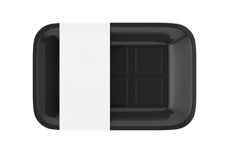 Empty Black Plastic Food Container Tray Package with Blank Label for Your Design on a white background. 3d Rendering