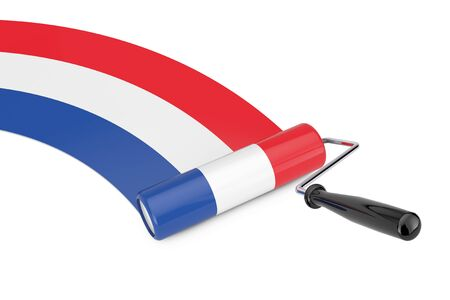 Paint Roller Brush with Netherlands Flag on a white background. 3d Rendering Imagens - 143138141