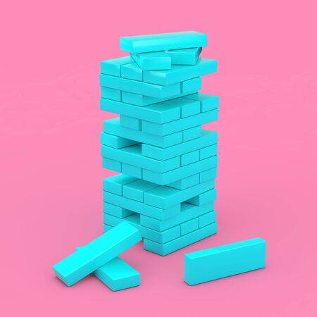 Stack of Blue Brick Block Cubes in Duotone Style on a pink background. 3d Rendering Imagens - 143138216