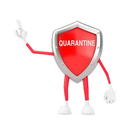 Cute Cartoon Red Metal Medical Shield Mascot Person Character with Quarantine Sign Gesturing with Finger on a white background. 3d Rendering Imagens - 143138221