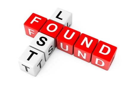 Lost and Found Sign as Crossword Cube Blocks on a white background. 3d Rendering Imagens