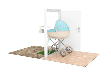 New Baby Born Concept. Modern Blue Baby Carriage, Stroller, Pram Comes Through the Doors to the House on a white background. 3d Rendering