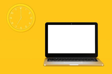 Wall CLock and Laptop Computer with Blank Screen for Your Design on a yellow background. 3d Rendering
