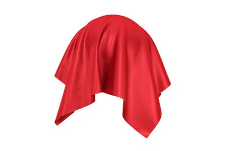 Surprise, Award or Prize Concept. Hidden Object Covered with Red Silk Cloth on a white background. 3d Rendering