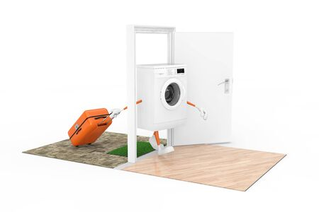 Buying Home Appliances Concept. White Modern Washing Machine as Character Person with a Suitcase Comes Through the Doors to the House on a white background. 3d Rendering Imagens - 143138171