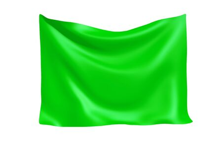 Textile Fabric Banner. Hanging Green Cloth Banner with Blank Space for Your Design on a white background. 3d Rendering Imagens