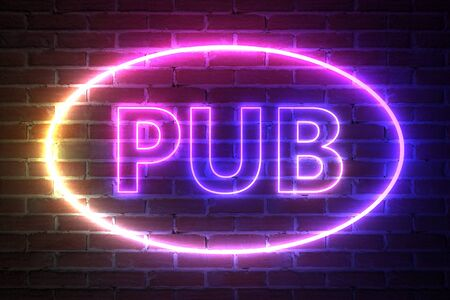 Ellipse Neon Light Frame with Pub Sign in front of brick wall. 3d Rendering