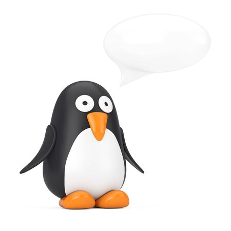 Cute Black and White Toy Cartoon Penguin with Speech Bubble on a white background. 3d Rendering Imagens - 143138252