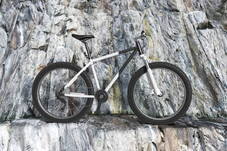 Black and White Mountain Bike on a Winding Rocky Mountain Road extreme closeup. 3d Rendering Imagens - 143138255