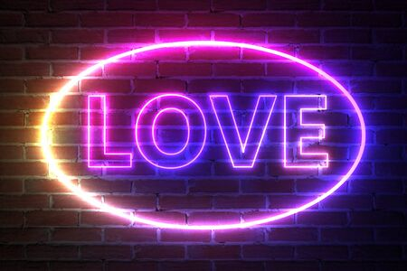Ellipse Neon Light Frame with Love Sign in front of brick wall. 3d Rendering