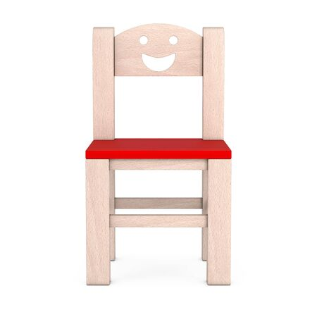 Little Child Wooden Chair on a white background. 3d Rendering