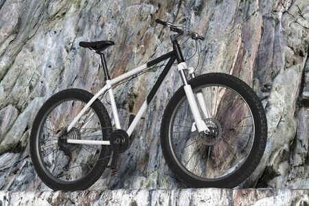 Black and White Mountain Bike on a Winding Rocky Mountain Road extreme closeup. 3d Rendering Imagens - 143138159