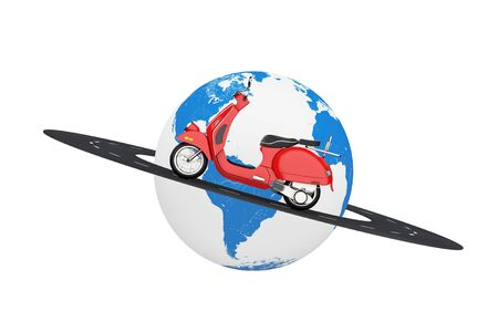 Red Classic Vintage Retro or Electric Scooter over Road Around Earth Globe on a white background. 3d Rendering Фото со стока