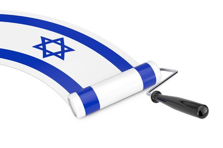 Paint Roller Brush with Israel Flag on a white background. 3d Rendering Imagens