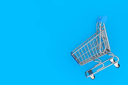 Shopping Cart Trolley Mock Up on a blue background. 3d Rendering
