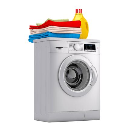 Silver Modern Washing Machine with Detergent Bottle and Pile of Clothes on a white background. 3d Rendering Reklamní fotografie