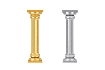 Golden and Silver Classic Greek Column Pedestal on a white background. 3d Rendering Stockfoto