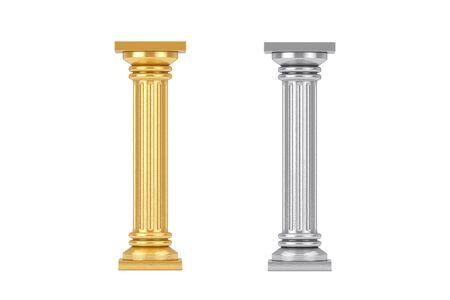 Piédestal de colonne grecque classique d'or et d'argent sur un fond blanc. Rendu 3D Banque d'images