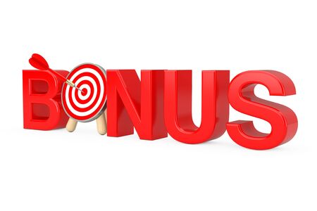 Red Bonus Sign and Archery Target with Dart in Center on a white background. 3d Rendering Standard-Bild