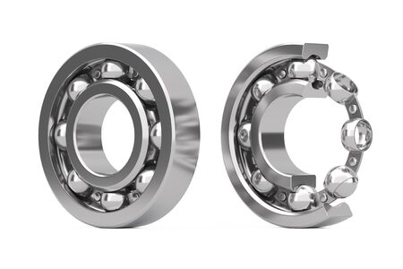 Set of Shiny Chrome Steel Ball Bearings with One Cut Outed Where Visible the Inner Parts on a white background. 3d Rendering Standard-Bild