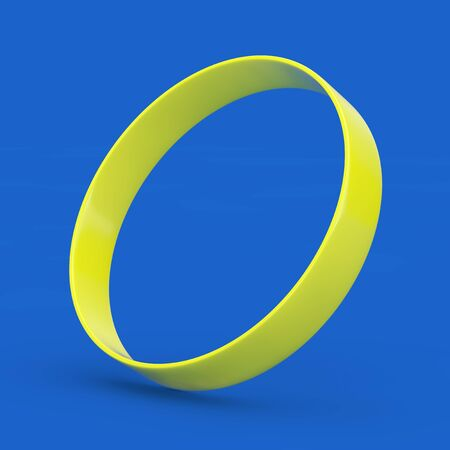 Yellow Blank Promo Rubber or Silicone Hand Bracelet on a blue background. 3d Rendering