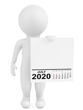 Character Holding Calendar July 2020 Year on a white background. 3d Rendering Stok Fotoğraf