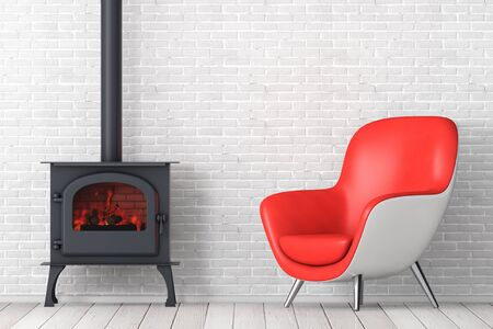 Modern Red Leather Oval Shape Relax Chair with Classic Оpen Home Fireplace Stove with Chimney Pipe and Firewood Burning in Red Hot Flame in front of brick wall. 3d Rendering