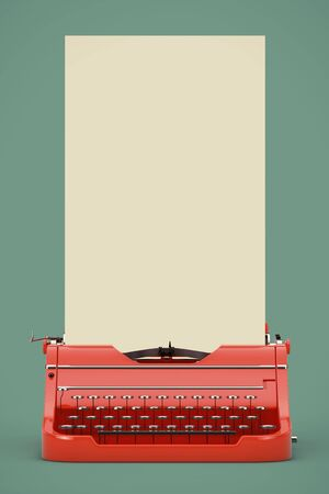 Old Vintage Retro Red Typewriter with Long White Blank Paper Ready for Your Design on a green background. 3d Rendering